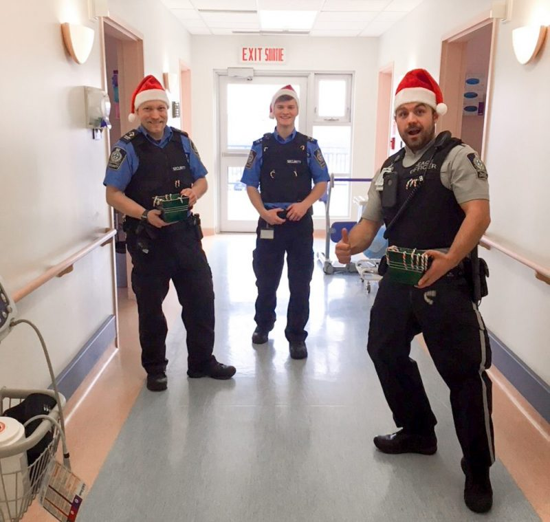 3 Security Guards with Candy Canes