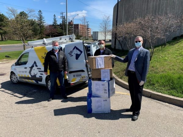 Iain Morton, Dennis Jocko, and Lorne Terry with masks for Scarborough Health Network