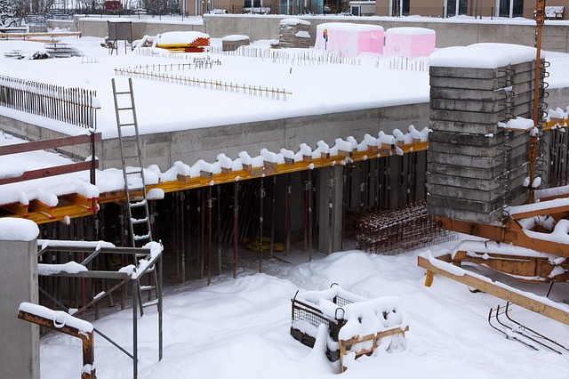 Construction Site Covered In Snow